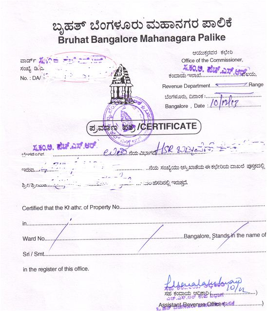 Khatha Registration and Khatha Transfer in Bangalore